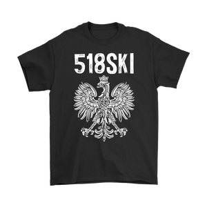 Albany New York - 518 Area Code - Polish Pride - Gildan Mens T-Shirt / Black / S - Polish Shirt Store