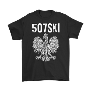 507SKI Minnesota Polish Pride - Gildan Mens T-Shirt / Black / S - Polish Shirt Store