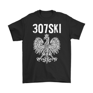 Wyoming - 307 Area Code - Polish Pride - Gildan Mens T-Shirt / Black / S - Polish Shirt Store