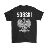 Worcester Massachusetts - 508 Area Code - Polish Pride - Gildan Mens T-Shirt / Black / S - Polish Shirt Store