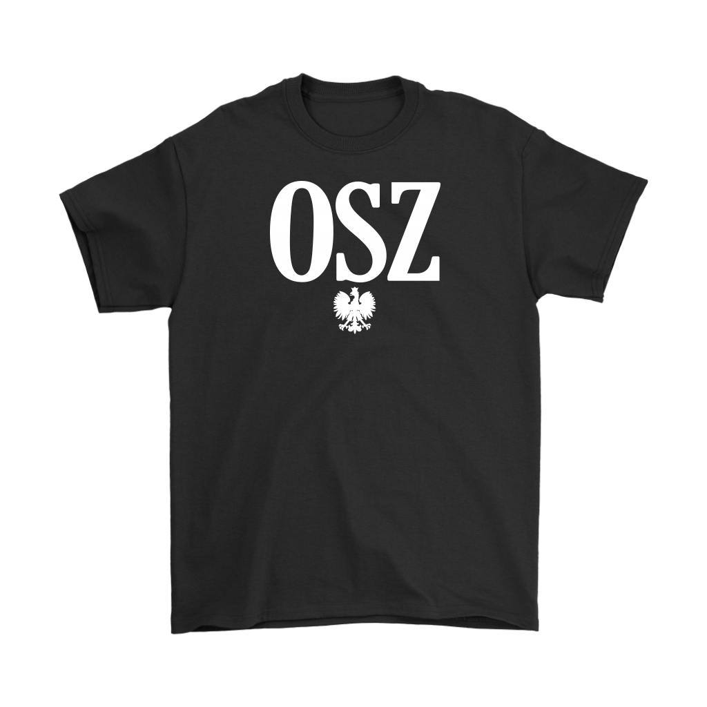 OSZ Polish Surname Ending - Gildan Mens T-Shirt / Black / S - Polish Shirt Store