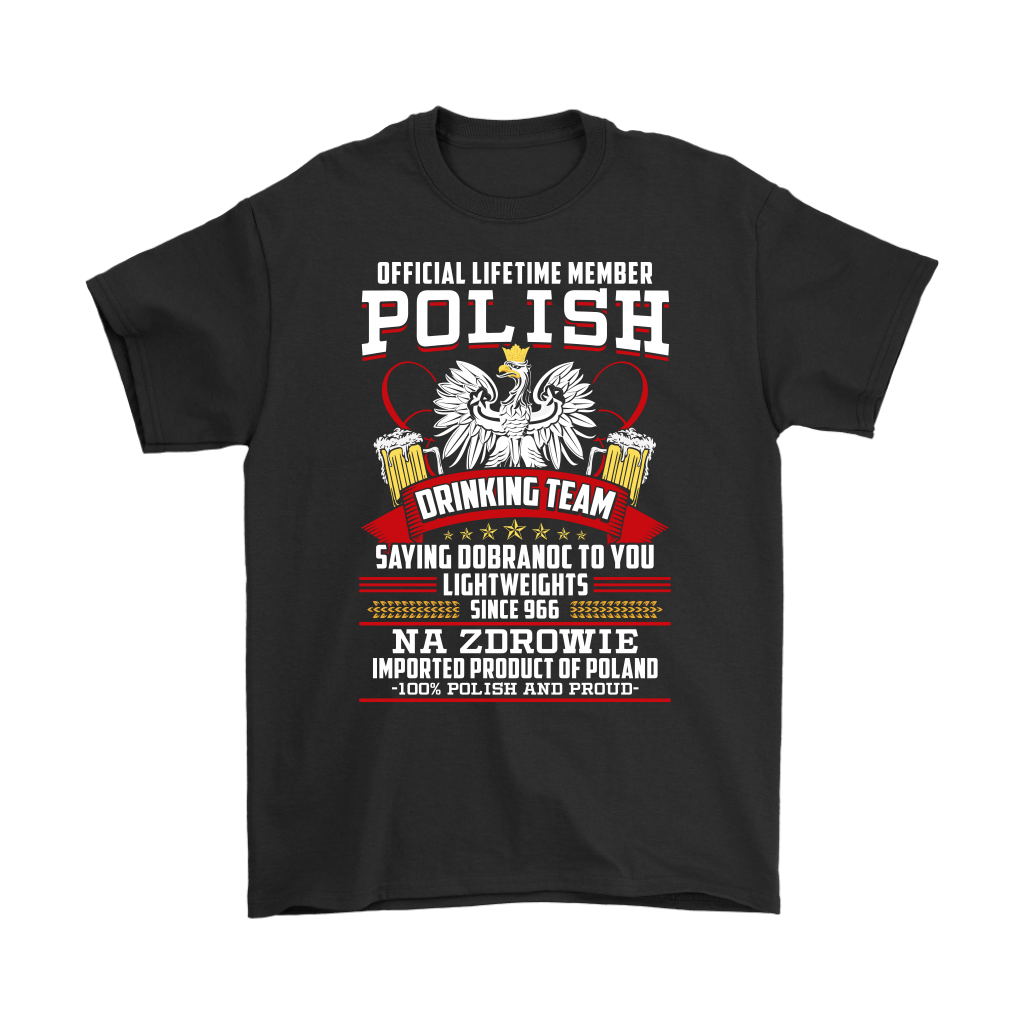 Goodnight in Polish - Funny Polish Drinking Team Shirt - Gildan Mens T-Shirt / Black / S - Polish Shirt Store