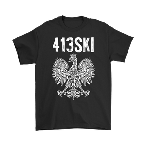 Springfield Massachusetts - 413 Area Code - Polish Pride - Gildan Mens T-Shirt / Black / S - Polish Shirt Store