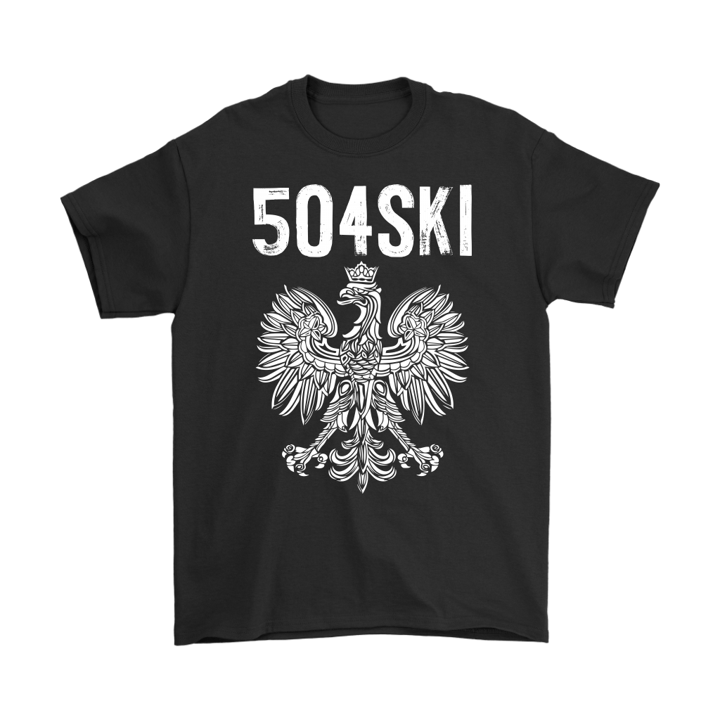 504SKI Louisiana Polish Pride - Gildan Mens T-Shirt / Black / S - Polish Shirt Store
