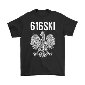 616SKI Grand Rapids Michigan Polish Pride - Gildan Mens T-Shirt / Black / S - Polish Shirt Store