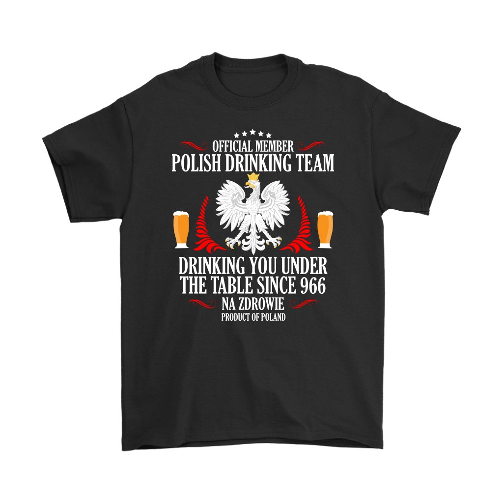 Official Polish Drinking Team - Gildan Mens T-Shirt / Black / S - Polish Shirt Store