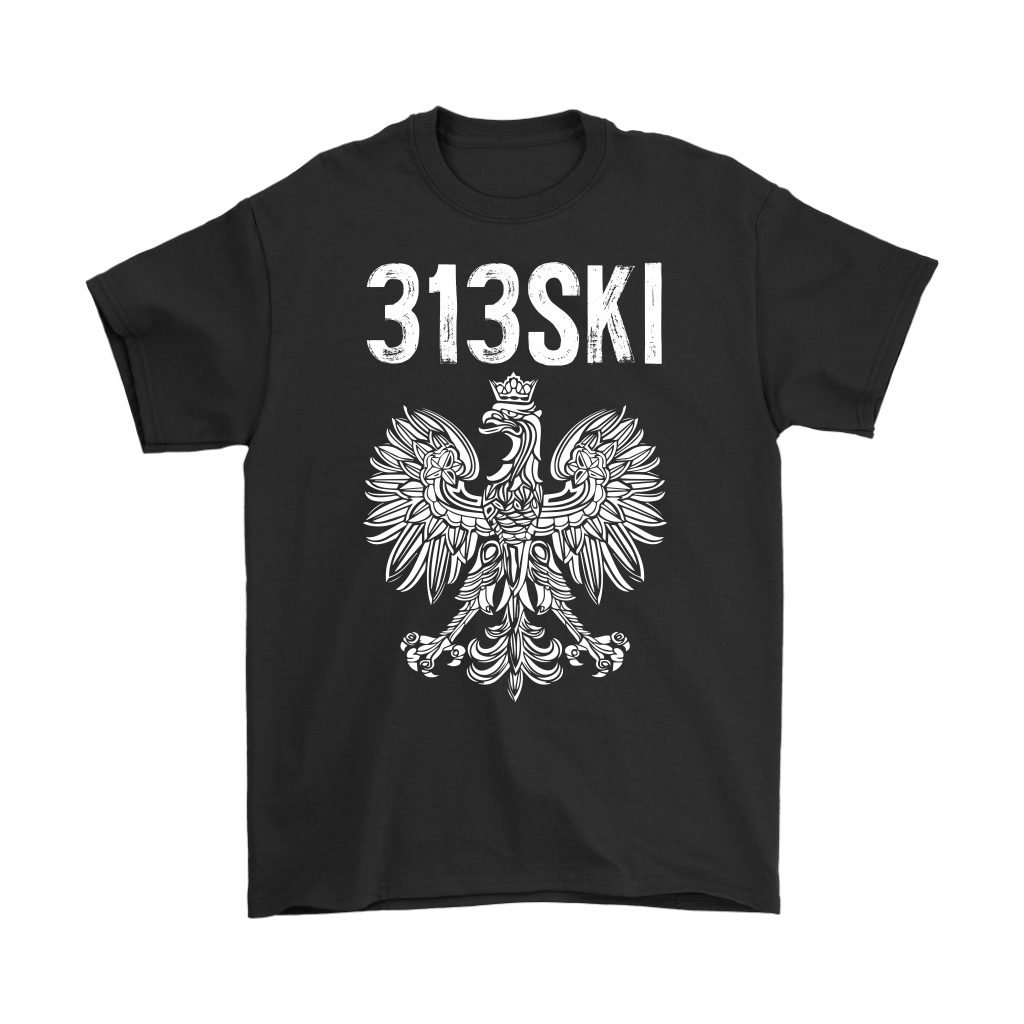 Detroit Michigan - 313 Area Code - 313SKI - Gildan Mens T-Shirt / Black / S - Polish Shirt Store