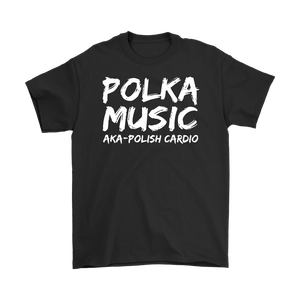 Polka Music Polish Cardio Mens - Gildan Mens T-Shirt / Black / S - Polish Shirt Store