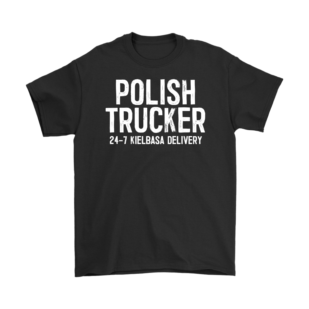 Polish Trucker 24-7 Kielbasa Delivery - Gildan Mens T-Shirt / Black / S - Polish Shirt Store