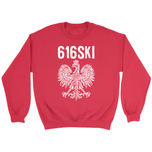 616SKI Grand Rapids Michigan Polish Pride - Crewneck Sweatshirt / Red / S - Polish Shirt Store