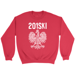 New Jersey Polish Pride - Area Code 201 - Crewneck Sweatshirt / Red / S - Polish Shirt Store