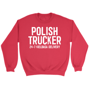 Polish Trucker 24-7 Kielbasa Delivery - Crewneck Sweatshirt / Red / S - Polish Shirt Store