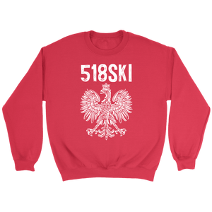 Albany New York - 518 Area Code - Polish Pride - Crewneck Sweatshirt / Red / S - Polish Shirt Store
