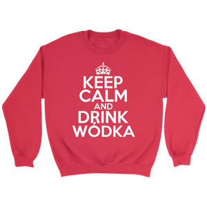 Keep Calm And Drink Wodka - Crewneck Sweatshirt / Red / S - Polish Shirt Store