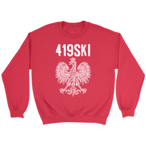 Toledo Ohio - 419 Area Code - Polish Pride - Crewneck Sweatshirt / Red / S - Polish Shirt Store