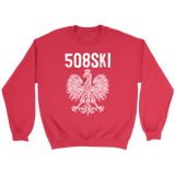 Worcester Massachusetts - 508 Area Code - Polish Pride - Crewneck Sweatshirt / Red / S - Polish Shirt Store