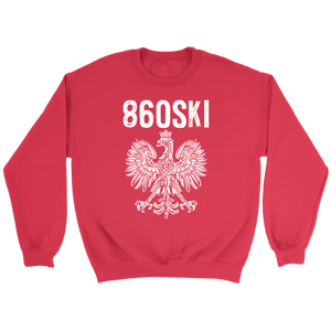 Hartford Connecticut - 860 Area Code - Polish Pride - Crewneck Sweatshirt / Red / S - Polish Shirt Store