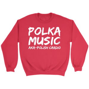 Polka Music Polish Cardio Mens - Crewneck Sweatshirt / Red / S - Polish Shirt Store