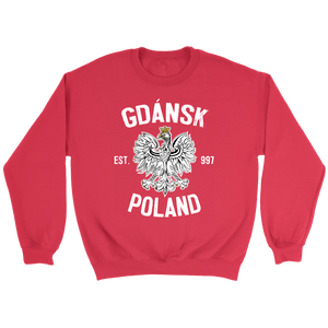 Gdansk Poland - Crewneck Sweatshirt / Red / S - Polish Shirt Store