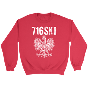 Buffalo NY - 716 Area Code - 716SKI - Crewneck Sweatshirt / Red / S - Polish Shirt Store