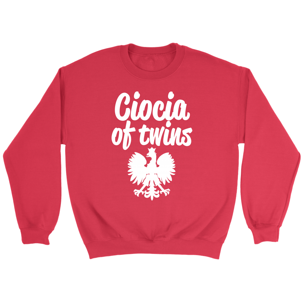 Ciocia of Twins Gift - Crewneck Sweatshirt / Red / S - Polish Shirt Store