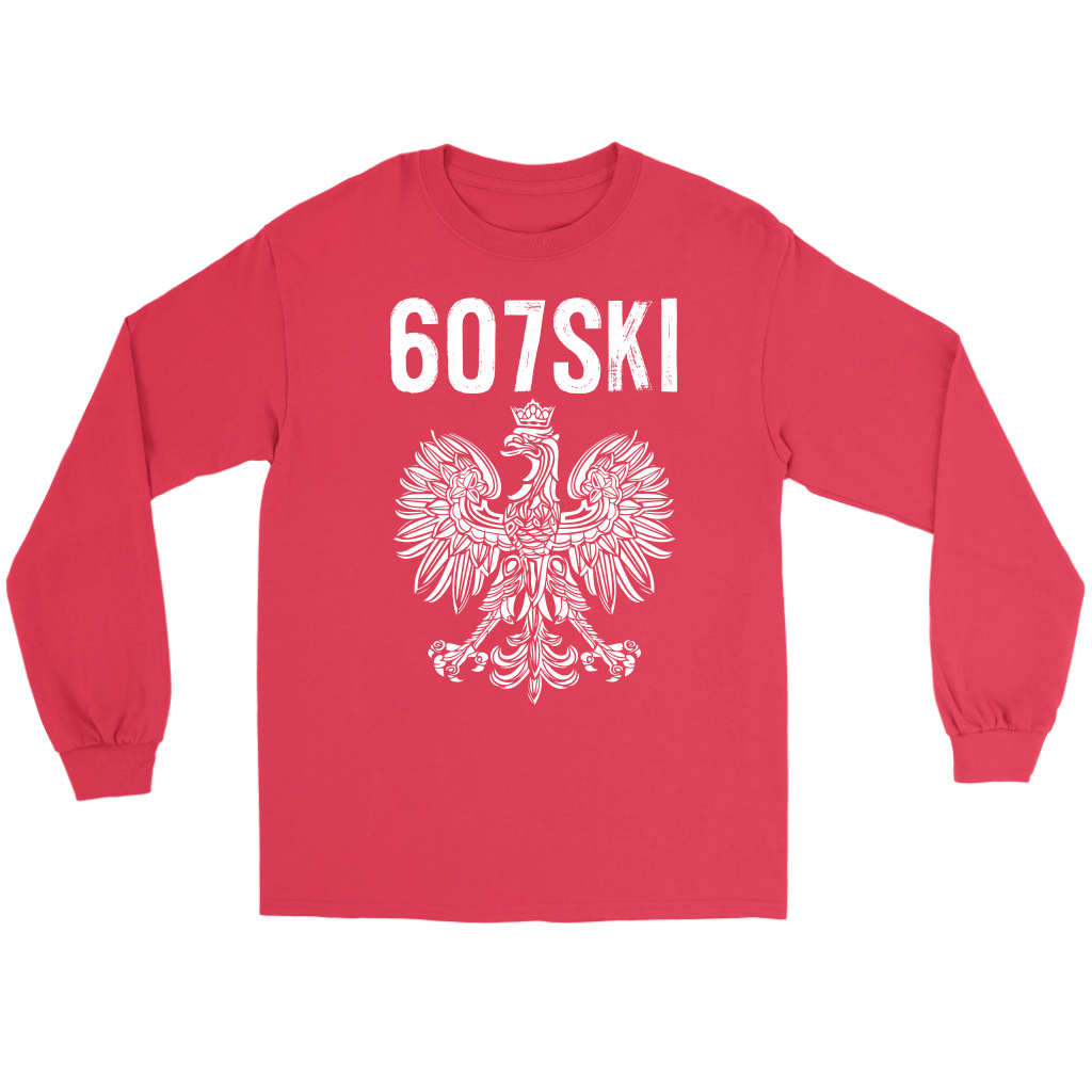 Binghamton NY - 607 Area Code - Polish Pride - Gildan Long Sleeve Tee / Red / S - Polish Shirt Store
