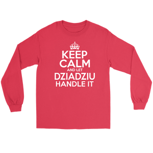 Keep Calm And Let Dziadziu Handle It - Gildan Long Sleeve Tee / Red / S - Polish Shirt Store