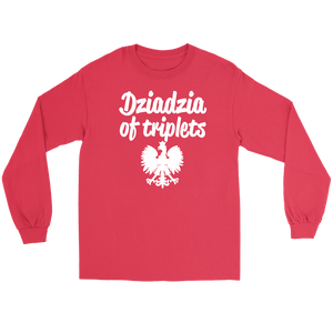 Dziadzia of Triplets Gift - Gildan Long Sleeve Tee / Red / S - Polish Shirt Store