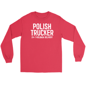 Polish Trucker 24-7 Kielbasa Delivery - Gildan Long Sleeve Tee / Red / S - Polish Shirt Store