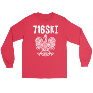 Buffalo NY - 716 Area Code - 716SKI - Gildan Long Sleeve Tee / Red / S - Polish Shirt Store