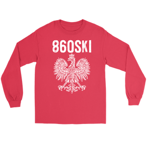 Hartford Connecticut - 860 Area Code - Polish Pride - Gildan Long Sleeve Tee / Red / S - Polish Shirt Store