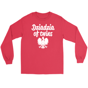 Dziadzia of Twins Gift - Gildan Long Sleeve Tee / Red / S - Polish Shirt Store