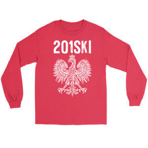 New Jersey Polish Pride - Area Code 201 - Gildan Long Sleeve Tee / Red / S - Polish Shirt Store