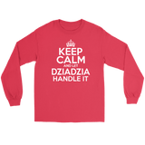 Keep Calm And Let Dziadzia Handle It - Gildan Long Sleeve Tee / Red / S - Polish Shirt Store
