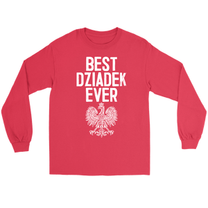 Best Dziadek Ever Polish Eagle Gift - Gildan Long Sleeve Tee / Red / S - Polish Shirt Store