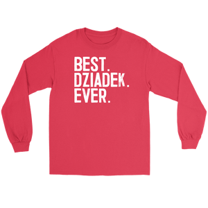 Best Dziadek Ever, Dziadek Gift - Gildan Long Sleeve Tee / Red / S - Polish Shirt Store
