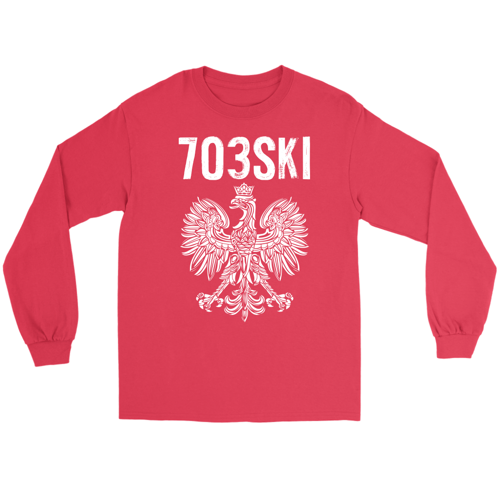 703SKI Virginia Polish Pride - Gildan Long Sleeve Tee / Red / S - Polish Shirt Store