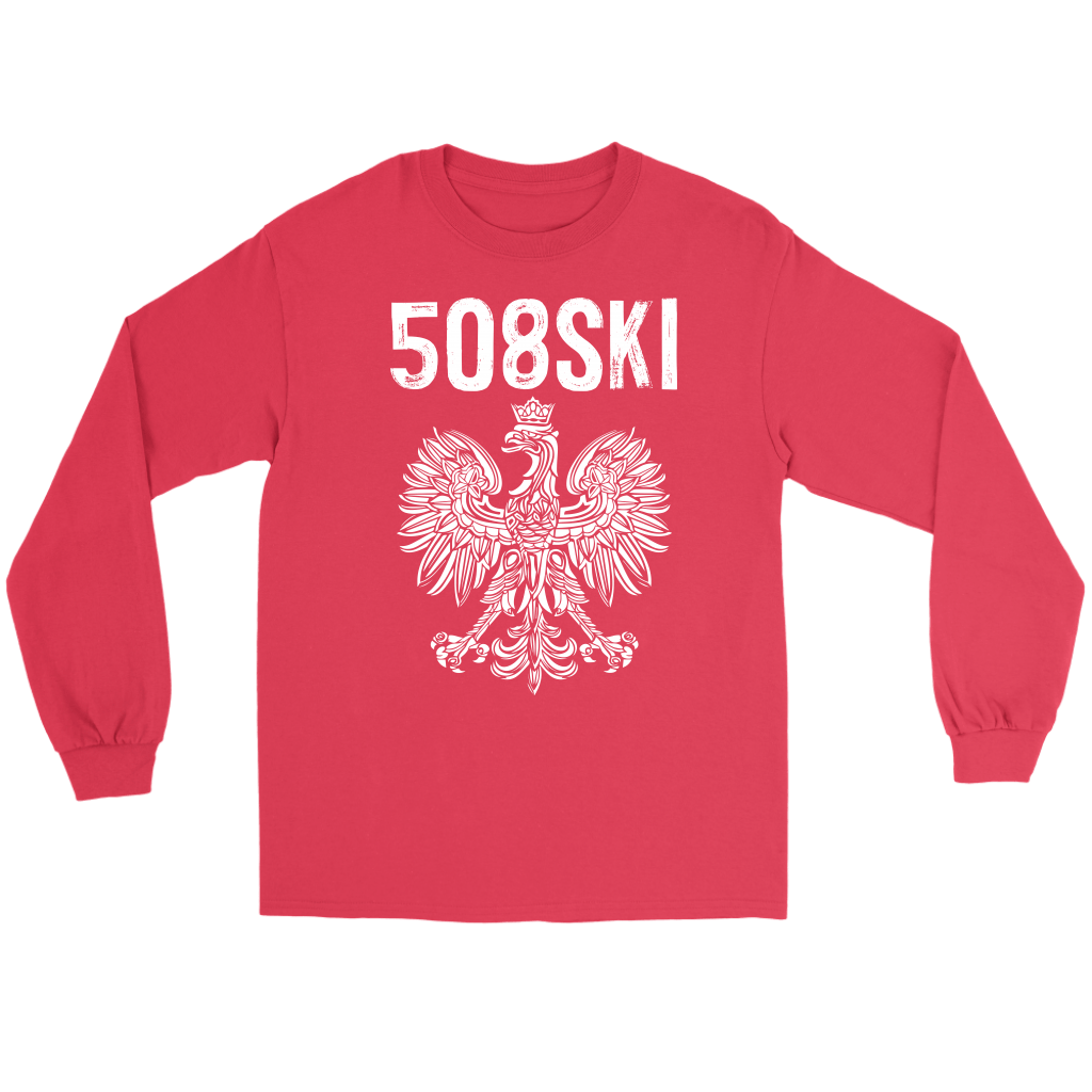 Worcester Massachusetts - 508 Area Code - Polish Pride - Gildan Long Sleeve Tee / Red / S - Polish Shirt Store