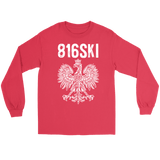 816SKI Missouri Polish Pride - Gildan Long Sleeve Tee / Red / S - Polish Shirt Store