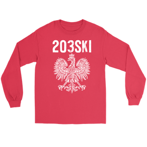 Connecticut - 203 Area Code - Polish Pride - Gildan Long Sleeve Tee / Red / S - Polish Shirt Store
