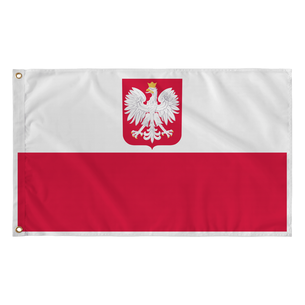 "Polish Flag - Polish Eagle - Polish Coat Of Arms - Flag - 36""x60"" - Polish Shirt Store"