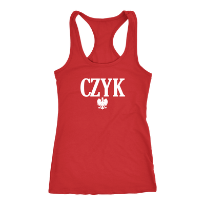 Polish Surnames ending in CZYK - Next Level Racerback Tank / Red / XS - Polish Shirt Store