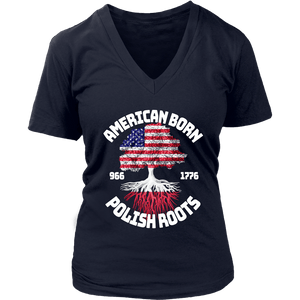 American Born With Polish Roots - District Womens V-Neck / Navy / S - Polish Shirt Store