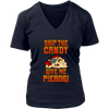 Skip The Candy Give Me Pierogi Pirate Adult Sizes - District Womens V-Neck / Navy / S - Polish Shirt Store