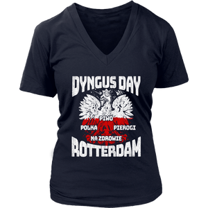 Dyngus Day Rotterdam New York - District Womens V-Neck / Navy / S - Polish Shirt Store