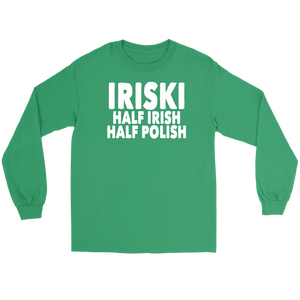 IRISKI Half Irish Half Polish - Gildan Long Sleeve Tee / Kelly Green / S - Polish Shirt Store