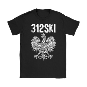 312SKI Illinois Polish Proud - Gildan Womens T-Shirt / Black / S - Polish Shirt Store