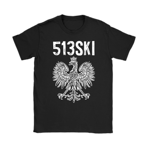 Cincinnati Ohio - 513 Area Code - Polish Pride - Gildan Womens T-Shirt / Black / S - Polish Shirt Store
