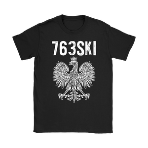 763SKI Minnesota Polish Pride - Gildan Womens T-Shirt / Black / S - Polish Shirt Store