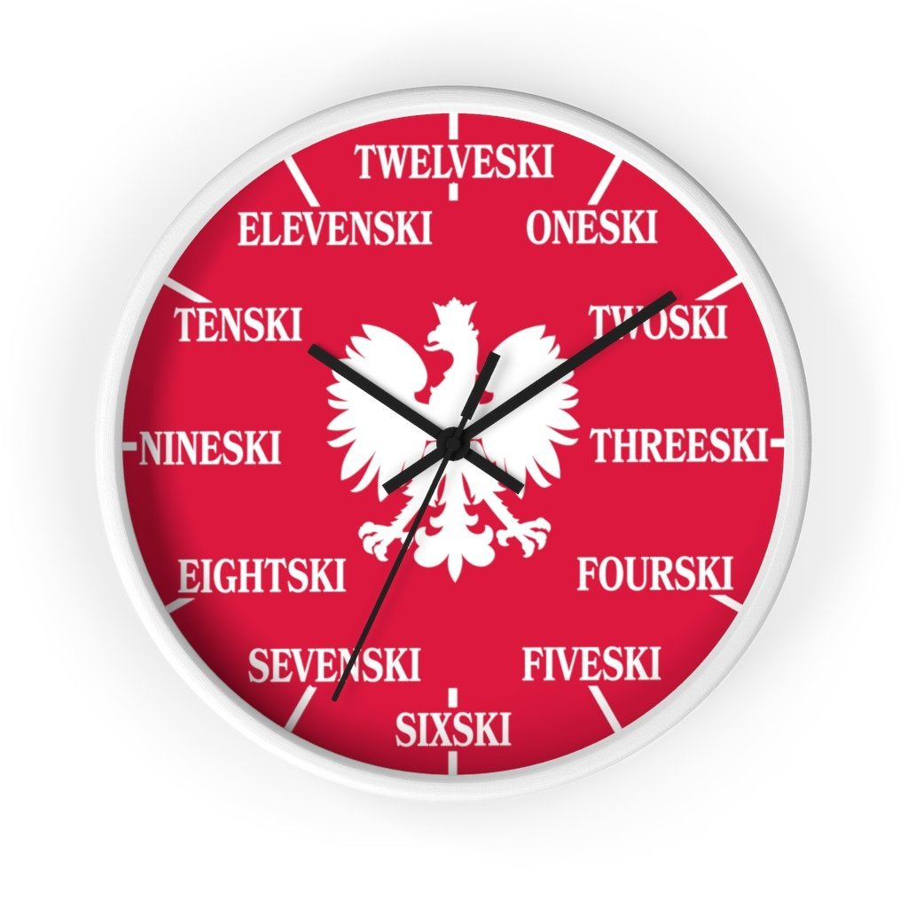 Polish Surname Ski Funny Indoor Wall Clock - 10 in / White / Black - Polish Shirt Store